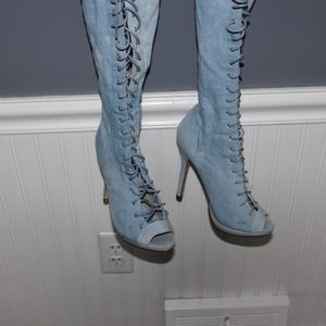 Forever 21 Shoes - Lace-up over-the-knee heels